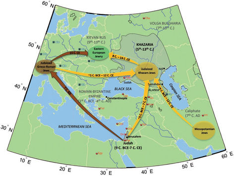 © Genome Biology and EvolutionEste mapa plasma las rutas de las dos hipótesis sobre el origen de los judíos europeos: la de los jázaros, en amarillo, y la Rhineland, en marrón.