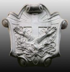Imagen del escudo franciscano de siglo pasado.  Fuente: http://www.americancatholic.org/e-News/FriarJack/fj032509.asp