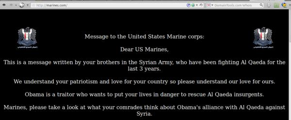 El Ejército Electrónico Sirio 'hackeó' la página web de reclutamiento de la Marina estadounidense y colocó este mensaje (Foto: @Official_SEA16 | Twitter)