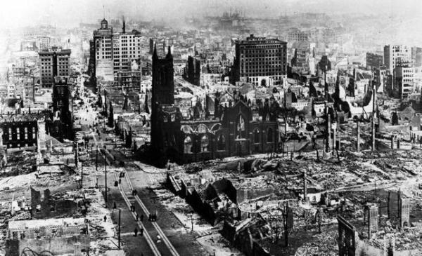 ARCHIVO Imagen tomada tras el terremoto de San Francisco de 1906. Fuente: http://www.abc.es/fotonoticias/fotos-ciencia/20140520/imagen-tomada-tras-terremoto-1612608273218.html