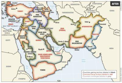 El «Medio Oriente ampliado» (Greater Middle East), según el estado mayor de las fuerzas armadas de Estados Unidos. Mapa publicado en 2006 por el coronel estadounidense Ralph Peters.