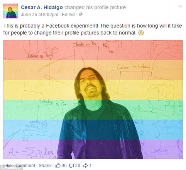 En la celebración de la aprobación del matrimonio entre personas del mismo sexo de la Corte Suprema, el sitio ofrece a los usuarios una herramienta para superponer sus fotos de perfil con un filtro de arco iris. Sin embargo, algunas personas, como el MIT científico red Cesar Hidalg, dicen que la red social está llevando a cabo otra prueba psicológica sobre sus usuarios