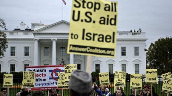 Sectores de ciudadanos se oponen a la ayuda financiera de EE.UU. a Israel.