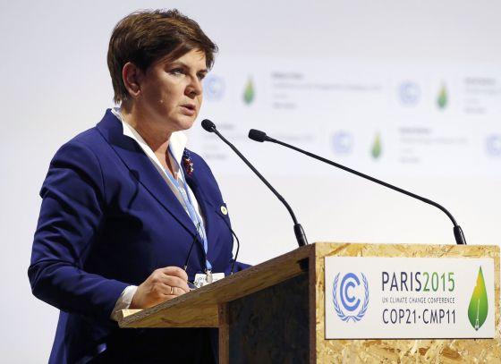 La primera ministra polaca, Beata Szydlo, en París el lunes. / STEPHANE MAHE (REUTERS)